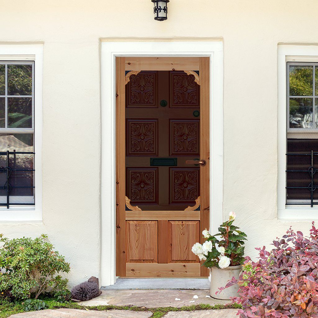 Screen Storm Door Cedar Woodland Wood Exterior Door Aluminum Screen Doors Wood Doors