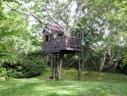 cool tree house with fireman's pole