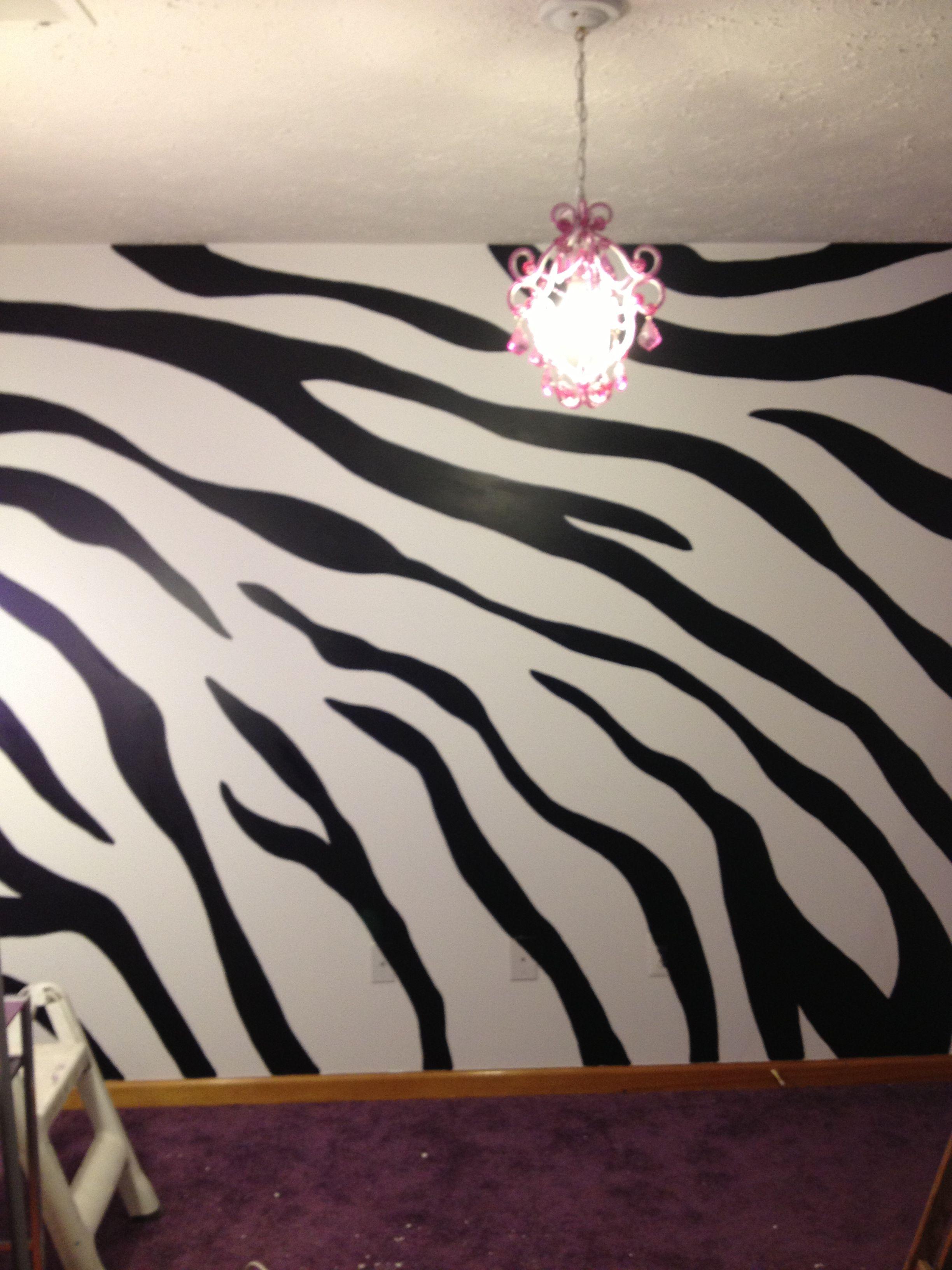 Zebra Stripe Wall Zebra Wall Zebra Wall Decor Zebra Print Walls