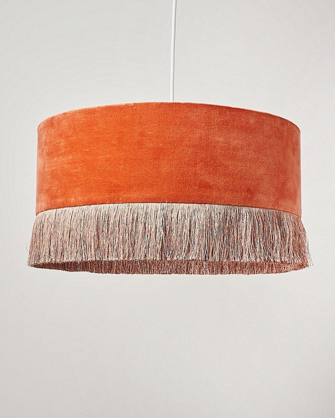 Ero Orange Velvet & Tassel Drum Pendant Lampshade | Oliver Bonas
