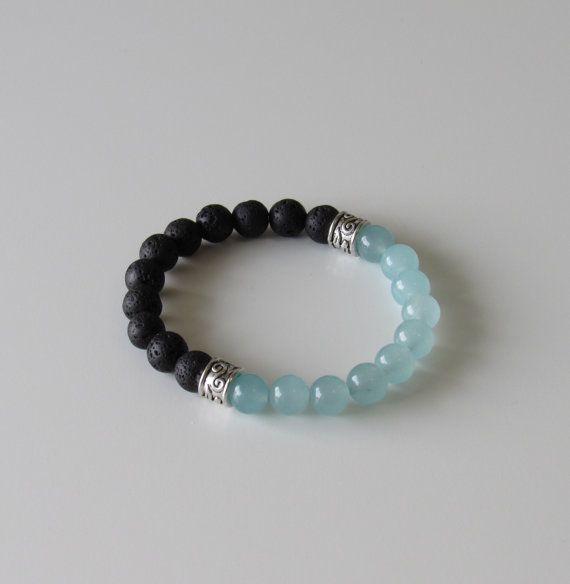 Blue Quartz and Black Lava Bracelet  Healing Bracelet by BBTresors