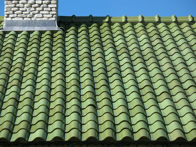 Coolest Green Tile Roof On Brick House Dollhouse Roofing