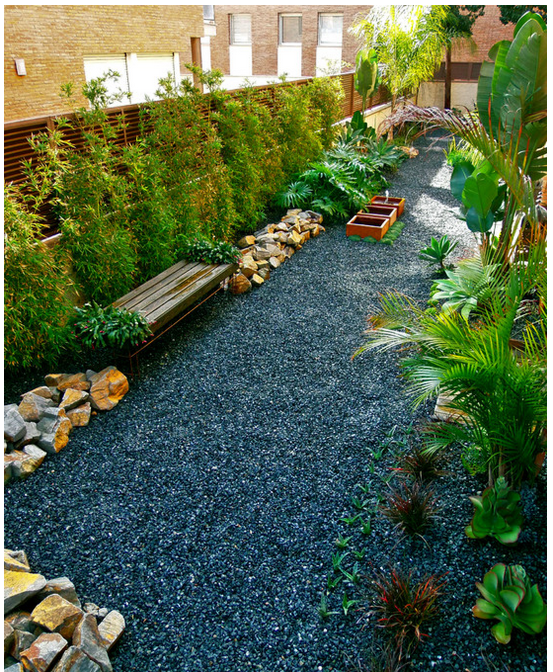 Black Crushed Marble? Stone Dog Run Drought Landscaping