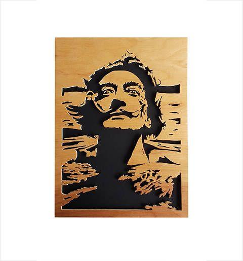 salvador dal scroll saw portrait plywood wall art schallplatten pinterest. Black Bedroom Furniture Sets. Home Design Ideas