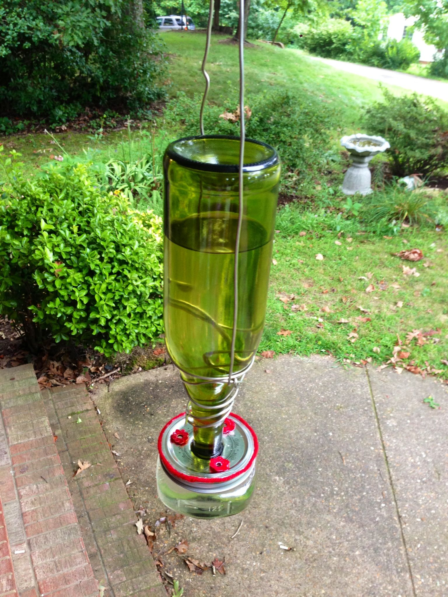 Finished diy hummingbird feeder wine bottle small glass for How to make a bottle bird feeder