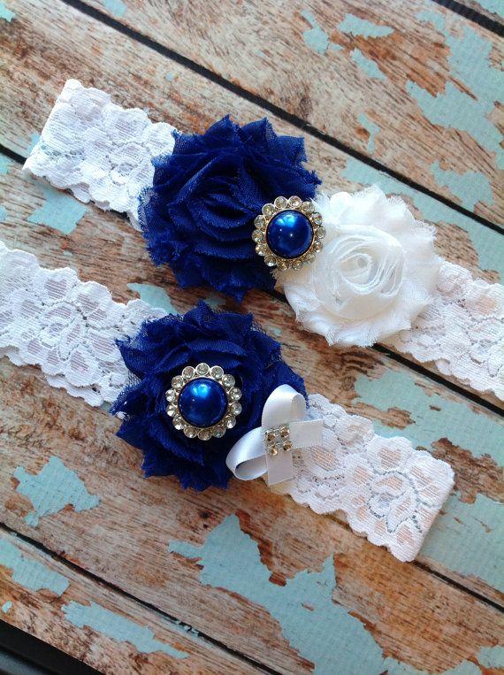 ROYAL BLUE wedding garter set / bridal by