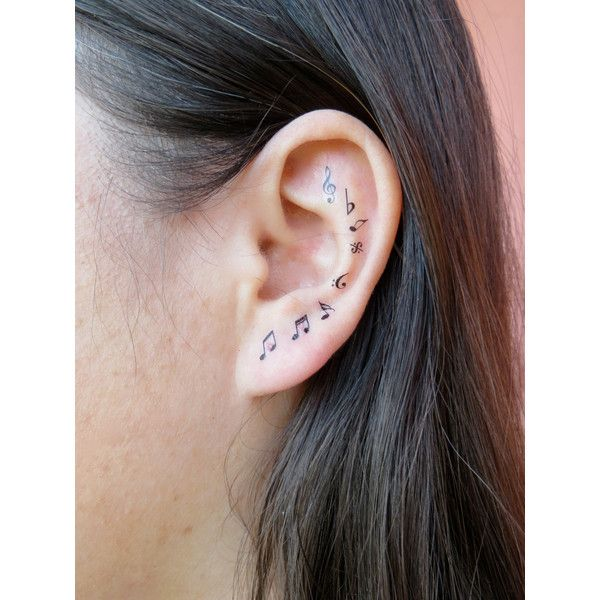 Musical Note Ear Cascade Ear Tattoos ($1.50) ❤ liked on Polyvore featuring accessories, body art, tattoos, piercings and tatoos