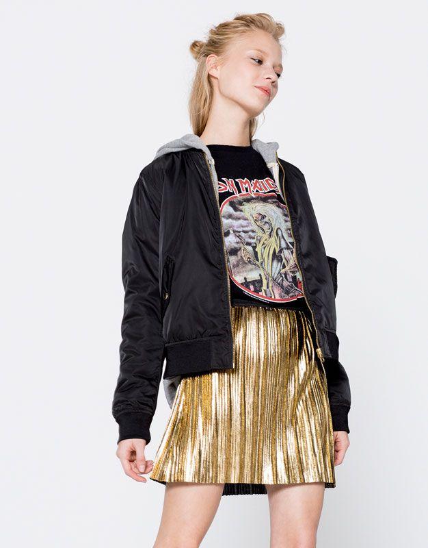 mirada detallada bda40 47823 Minifalda plisada metalizada - Faldas - Ropa - Mujer ...