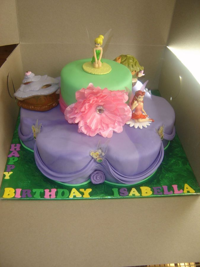 2 Tier Tinkerbell 1st Birthday Cake Top And Bottom Tiers Marble