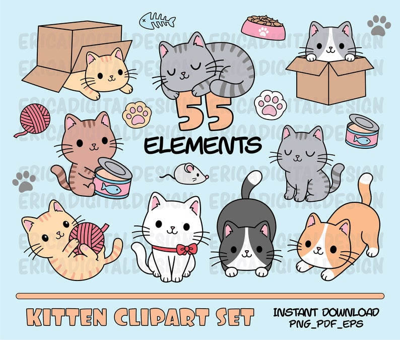 Cats Clipart Cute Cat Clip Art Kawaii Kittens Kitty Icons Pet Illustrations Cat Printable Stickers Planner Supplies Vector Commercial Use Cat Clipart Cat Printable Kawaii Clipart