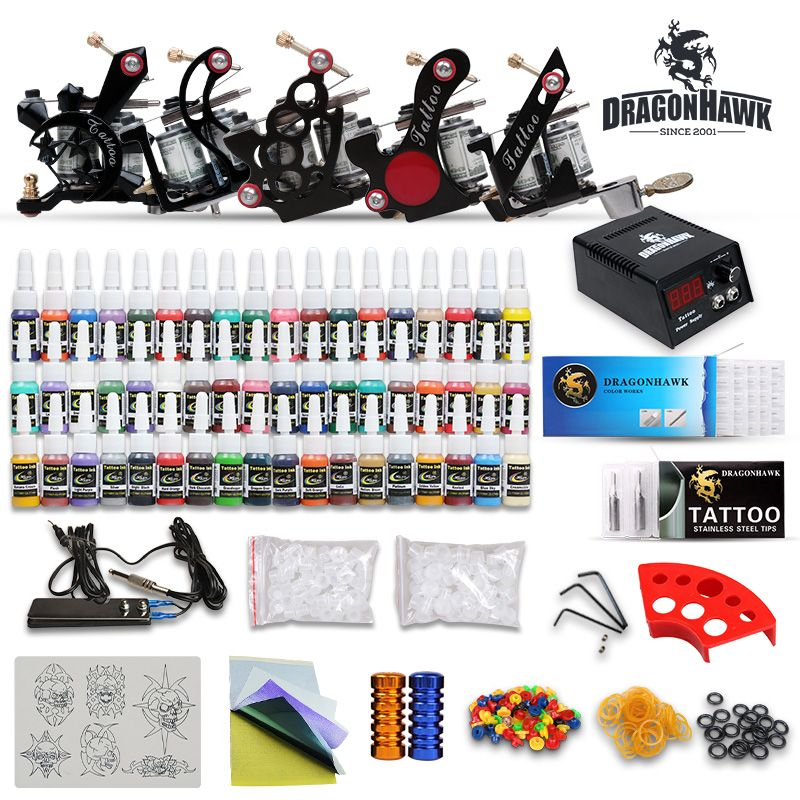 Tattoo Kit New 5 Top Machine Guns Set Power Supply 54 Colors Diy 415 3 Us 128 79 Dragonhaw Tattoo Kits Tattoo Machines For Sale Professional Tattoo Kits