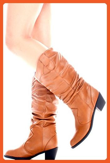 c766f9d648c Osistos FAUX LEATHER MID-CALF WESTERN RUCHED BOOTS 65 tan - Boots ...