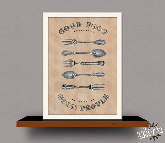 FORK and SPOON Wall DecorVintage Style Wall Art Printable by ukra, $5.00