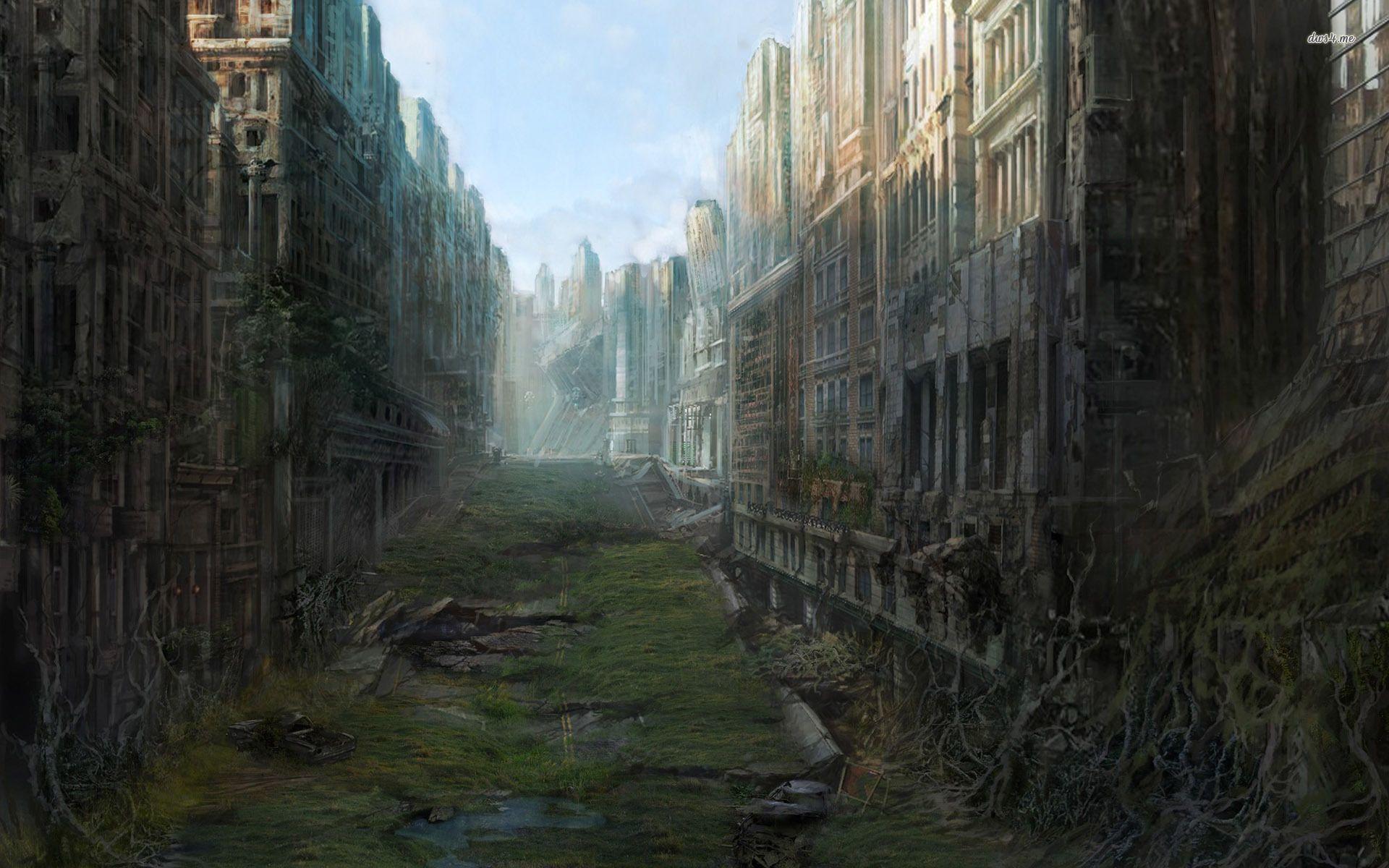 Post apocalyptic anime city szukaj w google