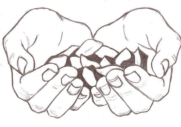 cupped hands worship art