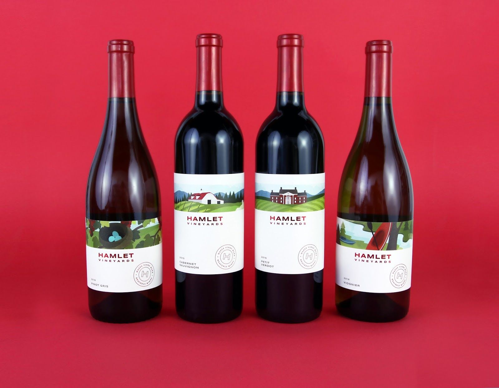 Hamlet Vineyards Modern Wine Labels Watermark Design Creative Packaging Design