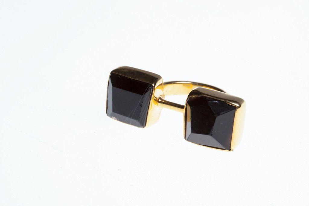 Jasmin Sparrow Lazy Diamond Ring | Gold with Brazilian Agate
