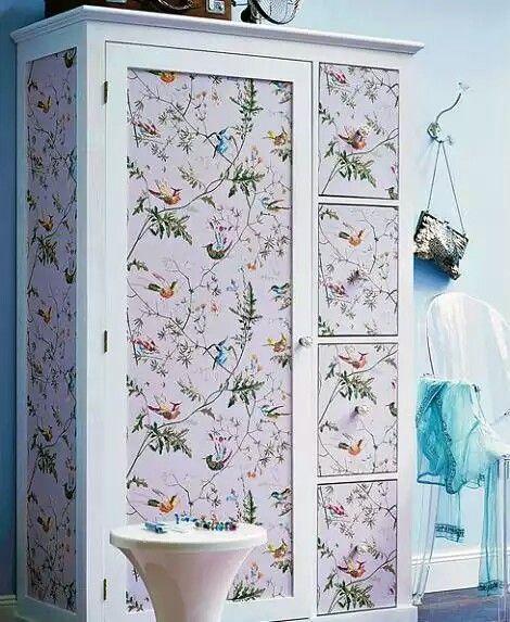Tela Y Papel Para Transformar Tus Muebles Ideas De Muebles Pintados Decoracion Armarios Armarios Pintados