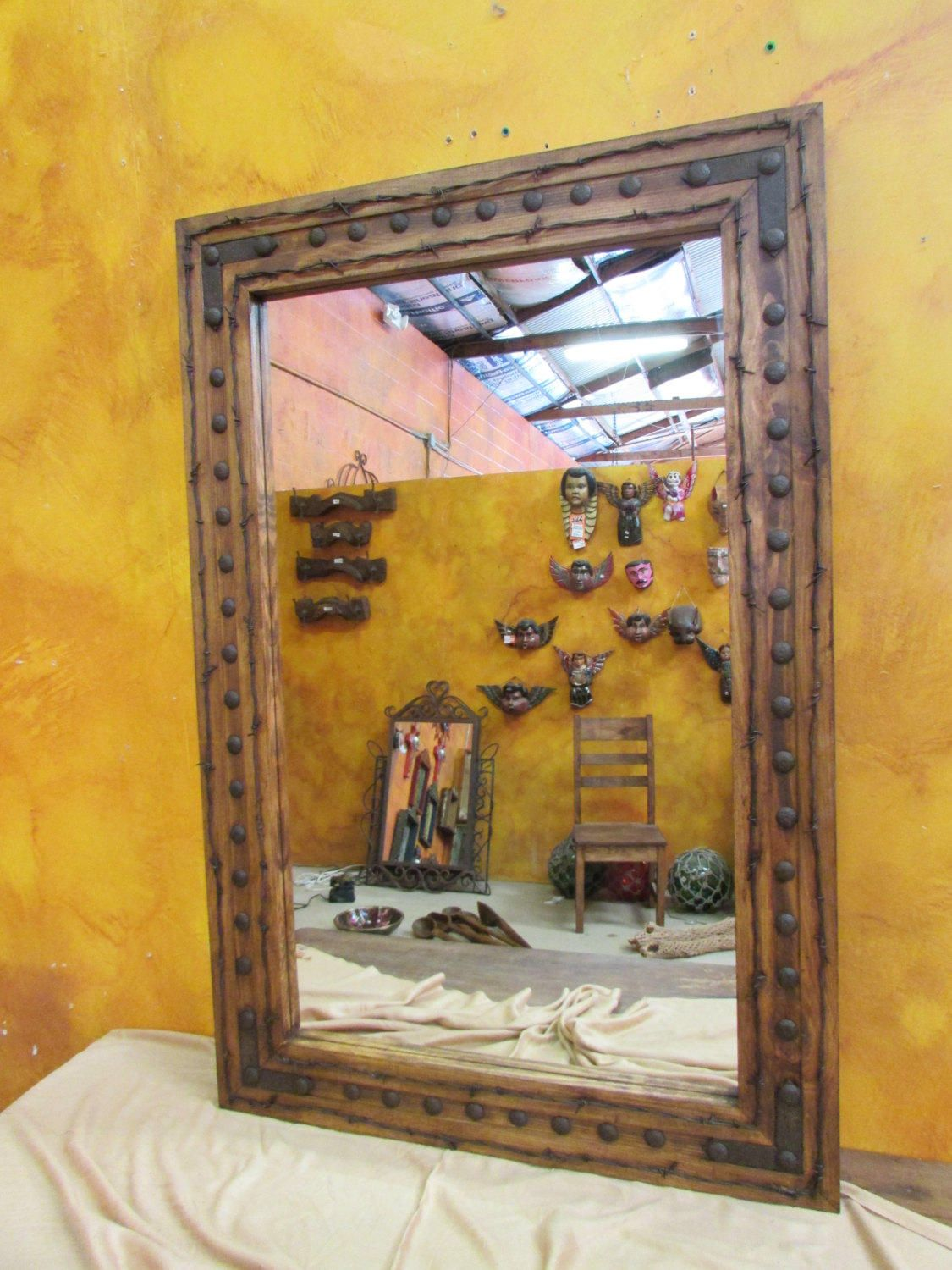 Bathroom Vanity Mirror-Rancho Adobe Rustic Mirror-24x30  Inches-Handmade-Barbed Wire