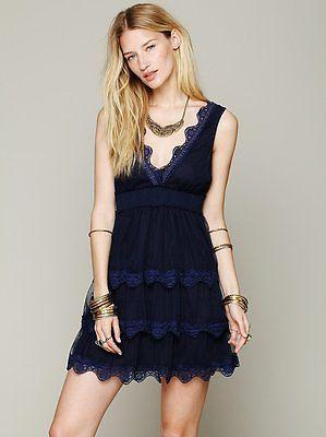 ba9e4a136097 Free People Curtain Call Mini Dress Prussian Blue Sz Med via ebay ...