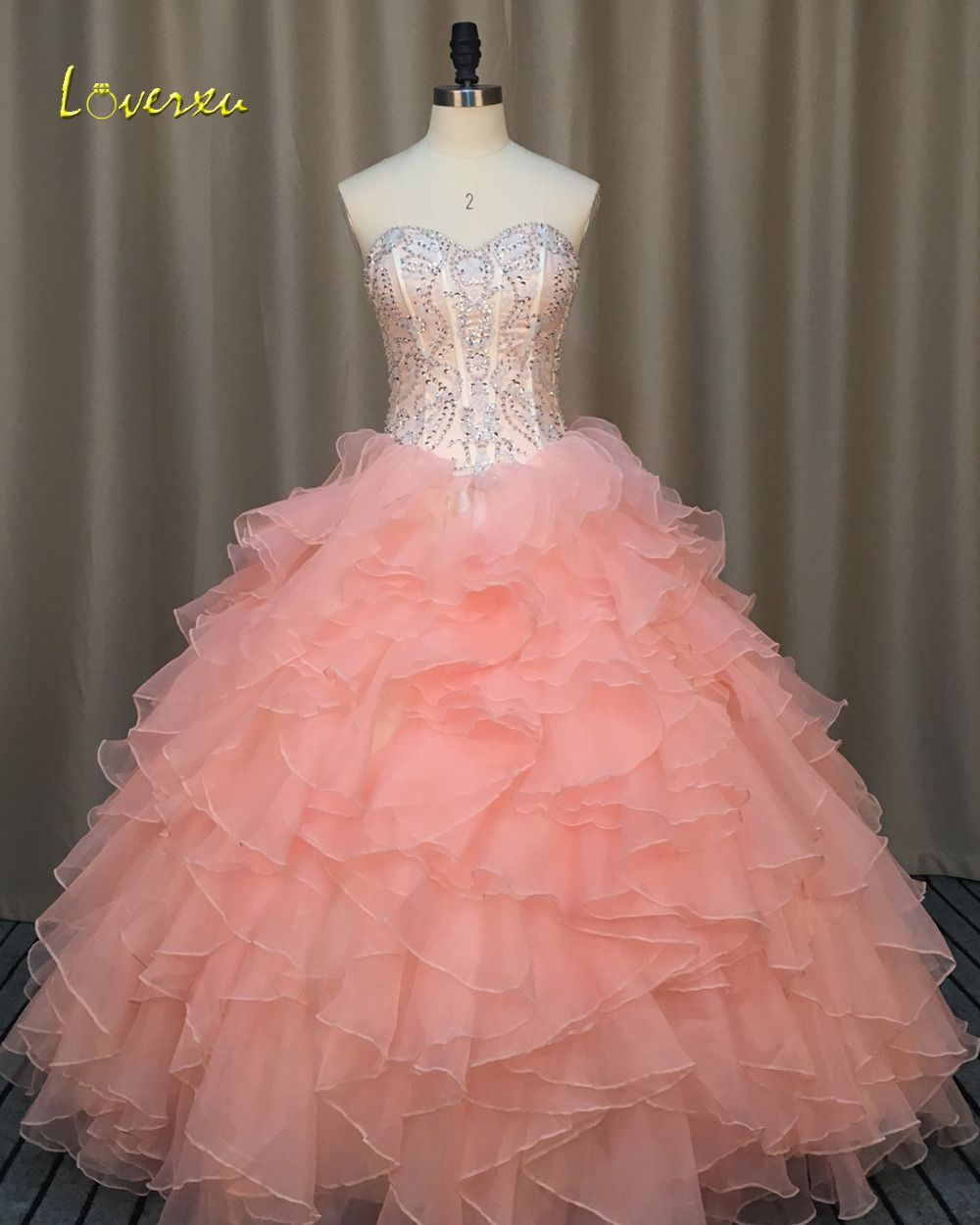 Loverxu sexy backless strapless ruffles ball gown quinceanera gown