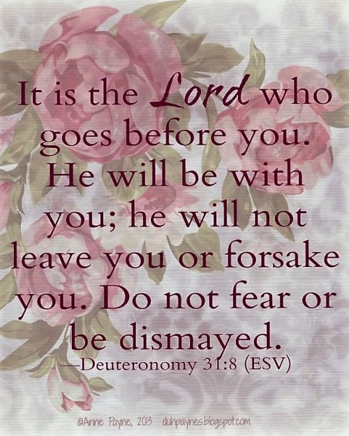 Deuteronomy 31:8 (ESV) - It is the LORD who goes before you. He will be  with you; He will not leave y… | Encouraging scripture, Words of  encouragement, God loves me
