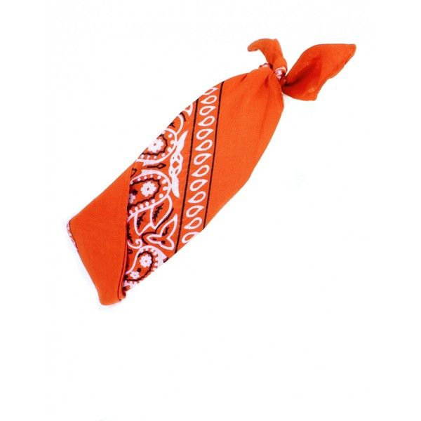 CALIFORNIA LOVE ORANGE BANDANA (£2.99) ❤ liked on Polyvore featuring accessories, paisley bandana, california love, orange handkerchief, paisley handkerchief and orange bandana