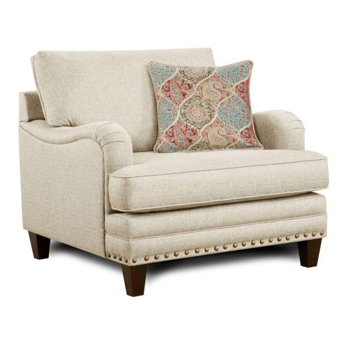 Fusion Burash Linen Chair And Half With Nailhead Trim