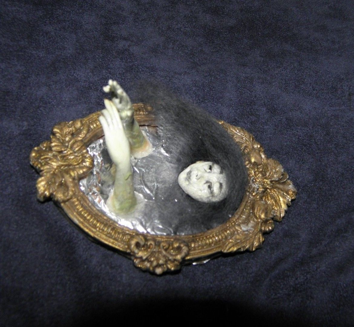 Dollhouse Miniatures In Las Vegas: Scary Ghost In The Mirror On Halloween 1:12 OOAK Realistic