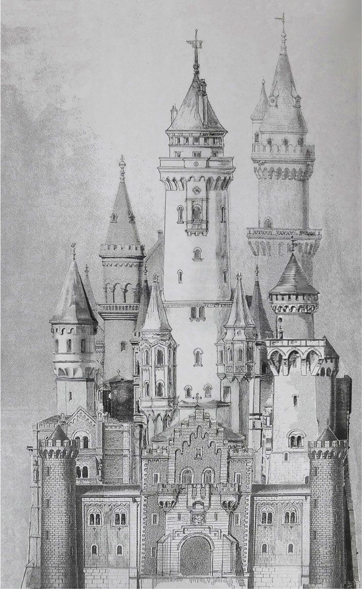 Schloss Neuschwanstein Und Falkenstein Architekturcollage Castle Drawing Castle Illustration Disney Castle Drawing