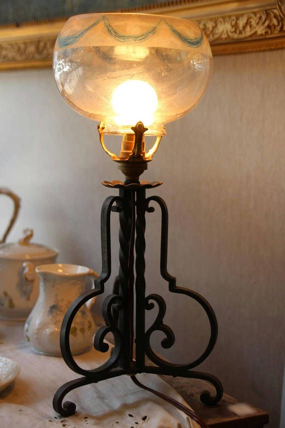 French Vintage Wrought Iron Lamp Wrought Iron Table Lamp