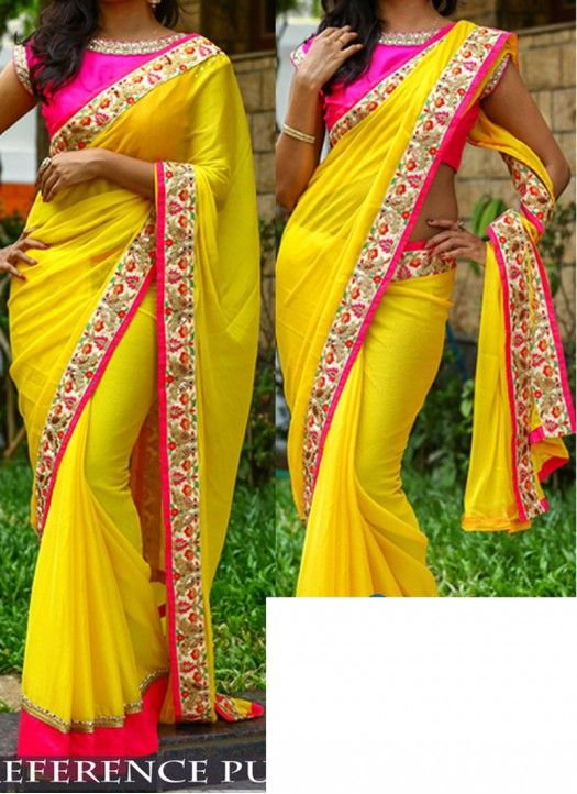 02fab5dcba7615 Buy Georgette Yellow With Pink Blouse Designer Saree