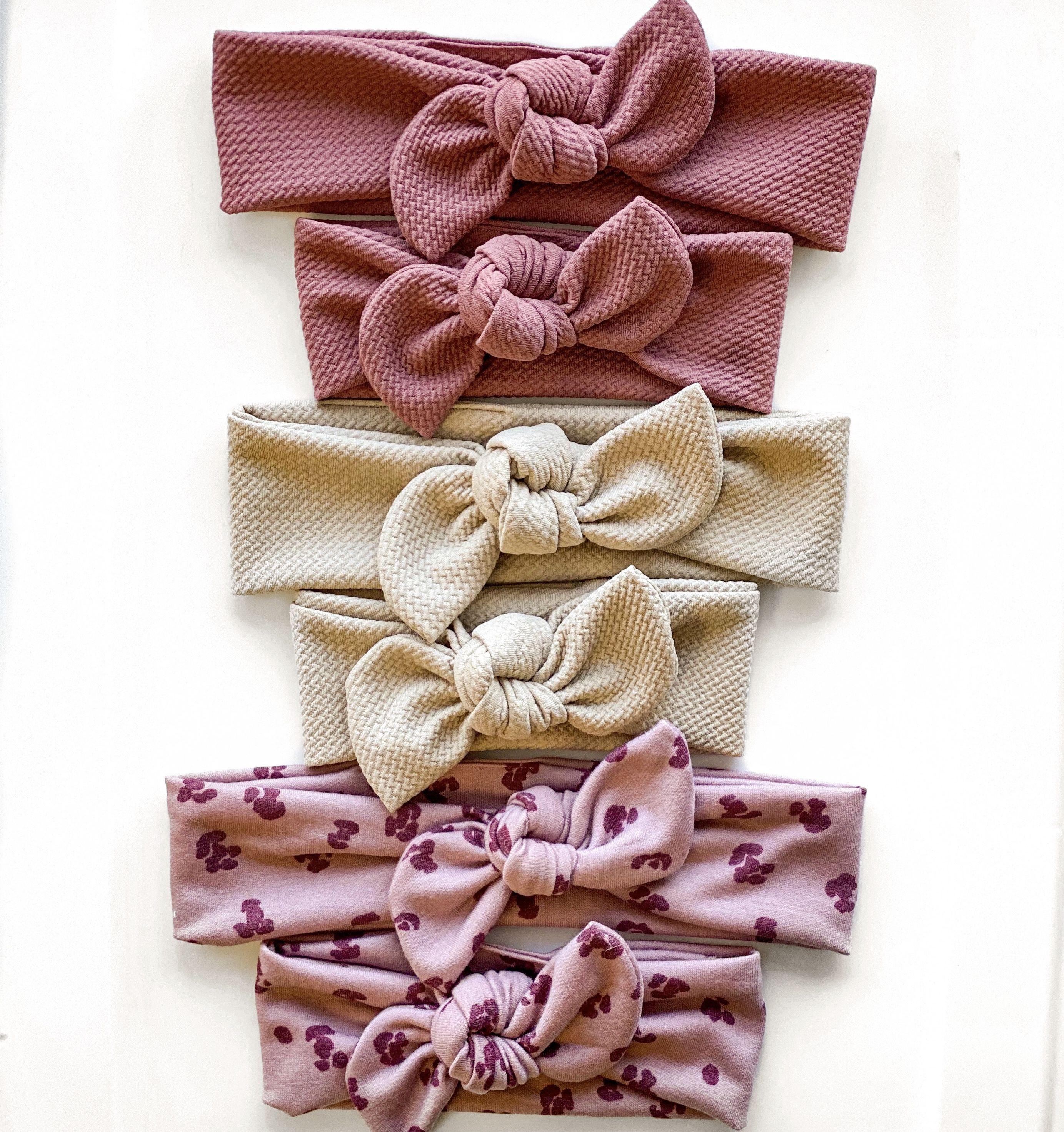 Mauve Pink Matching Headbands Mauve Matching Wraps-Mommy and Me Headband Set Baby Knot Headband Baby Matching Headbands