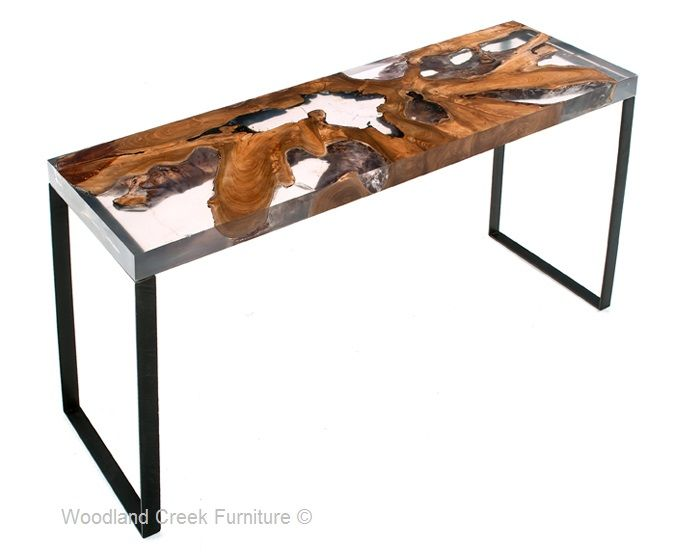 Contemporary Wooden Sofa Table By Woodland Creek Resin Furniture Wood Table Resin And Wood Diy