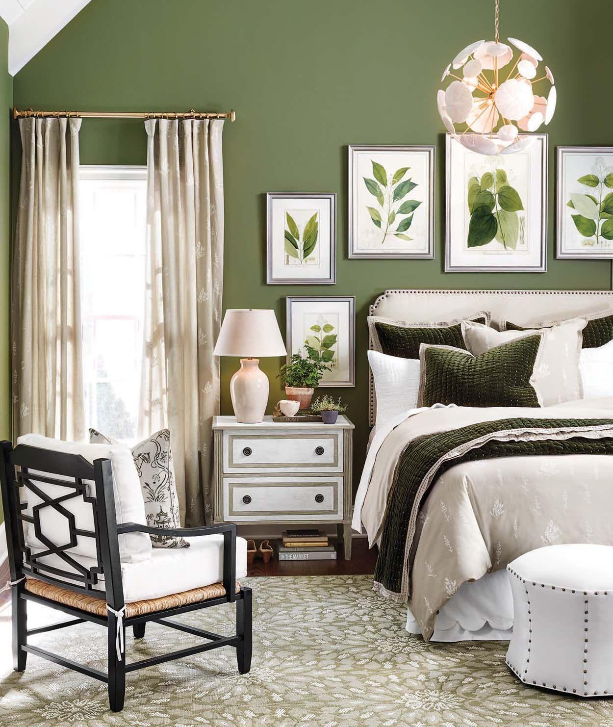 Master bedroom art  Bedrooms  Olive green walls Green walls and Neutral