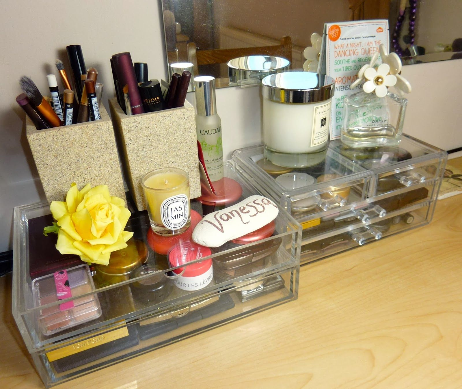 Cute dresser top makeup & beauty storage Top makeup