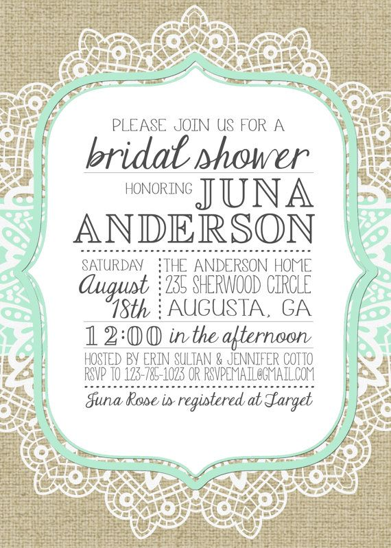 Burlap and lace bridal shower invitation by julsnewbrough on etsy items similar to burlap and lace bridal shower invitation on etsy stopboris
