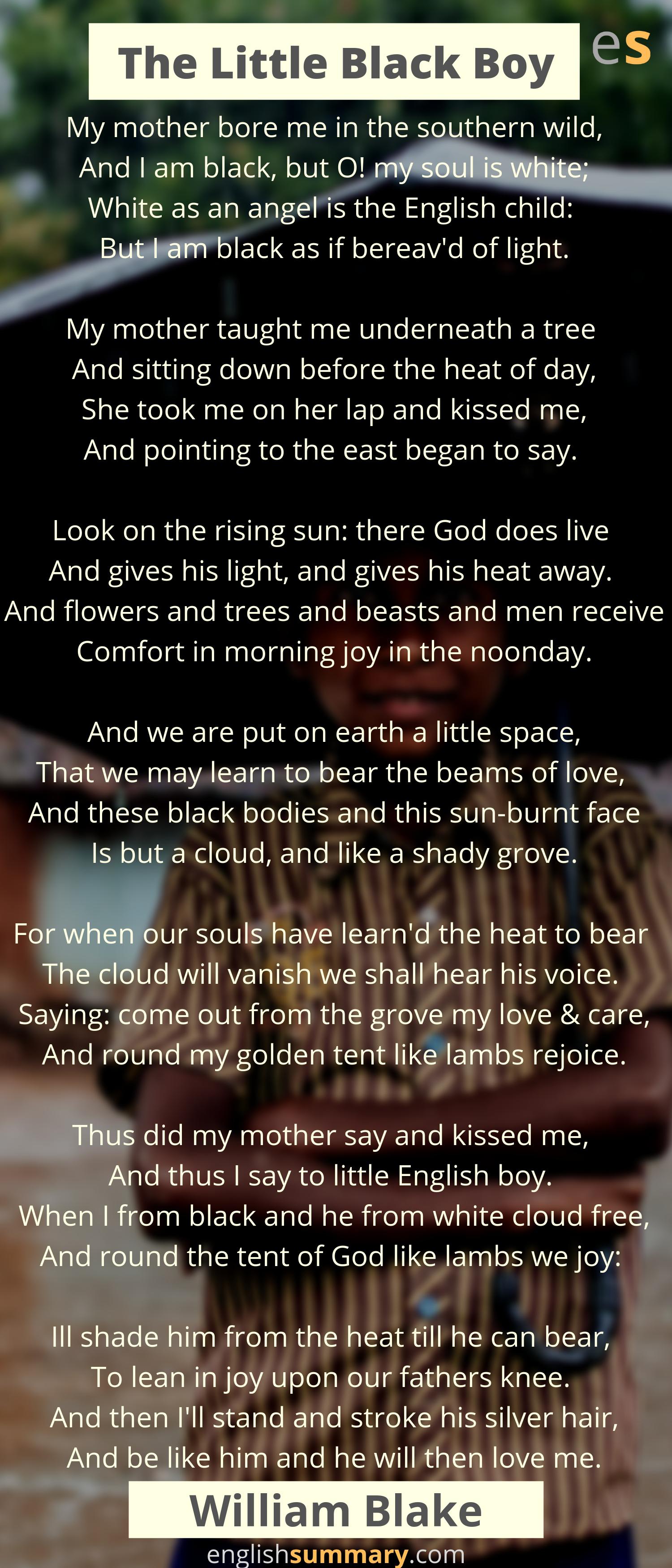 The Little Black Boy Poem By William Blake Mother Teach Sun Rising Theme