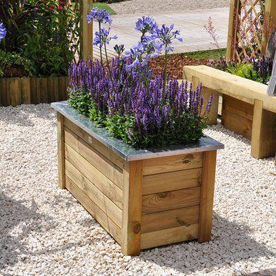 Forest Garden Cambridge Planter is part of Wooden planters, Wooden garden planters, Forest garden, Wooden planter boxes, Planters, Plastic barrel planter -
