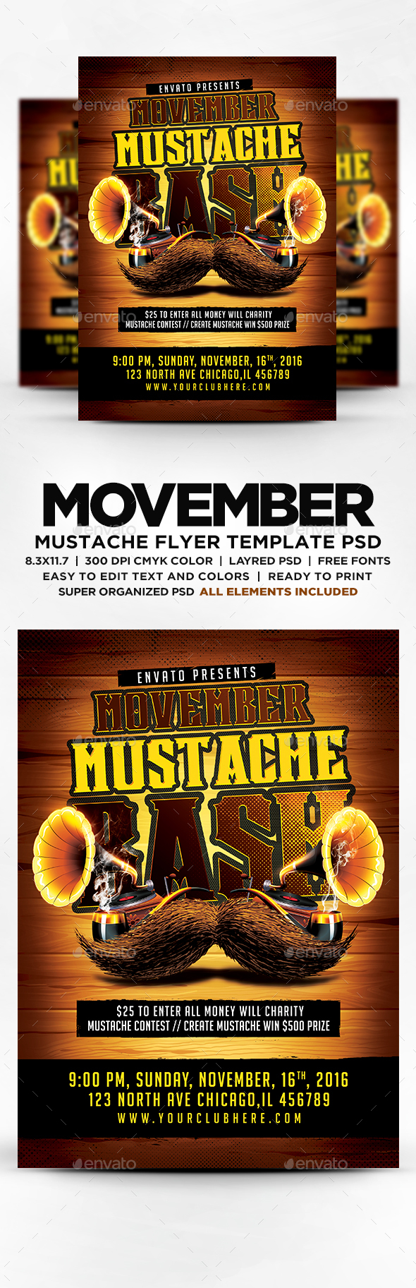 Buy Movember Mustache Bash Flyer By DESIGNBLEND On GraphicRiver Features This Item Print Dimensions Bleed Resolution CMYK Color All Text Is Editable