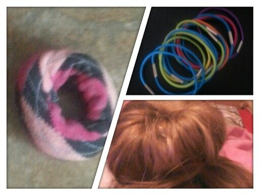 I made a sock bun its a cute fun and quick hair style!