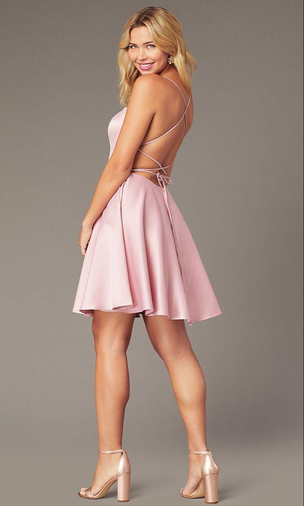 Cheap Short Peach Nude Mini Party Dress - PromGirl