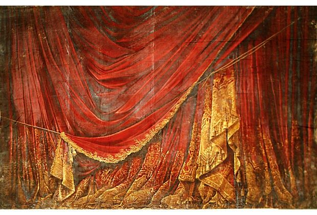 Curtains Ideas curtain paintings : Full scale theater-sized painted red curtain canvas backdrop from ...