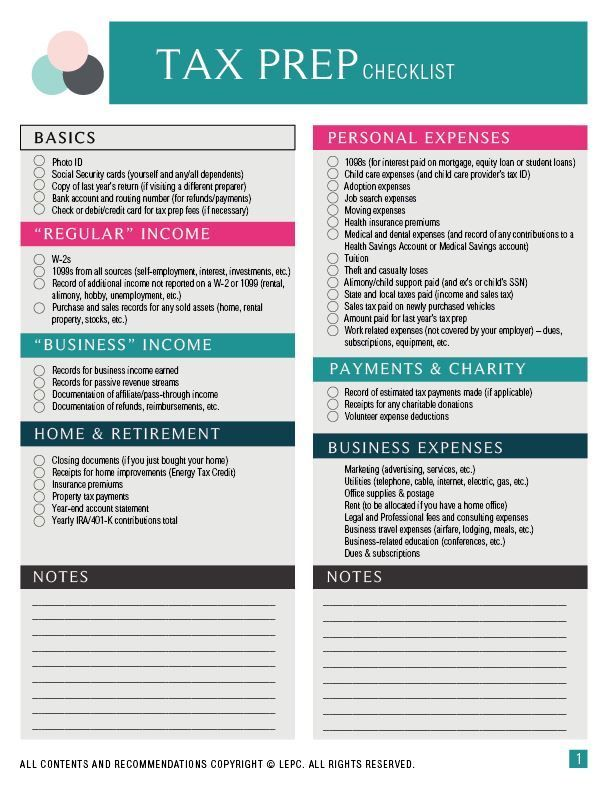 Comprehensive Tax Prep Checklist For The Small Business Owner