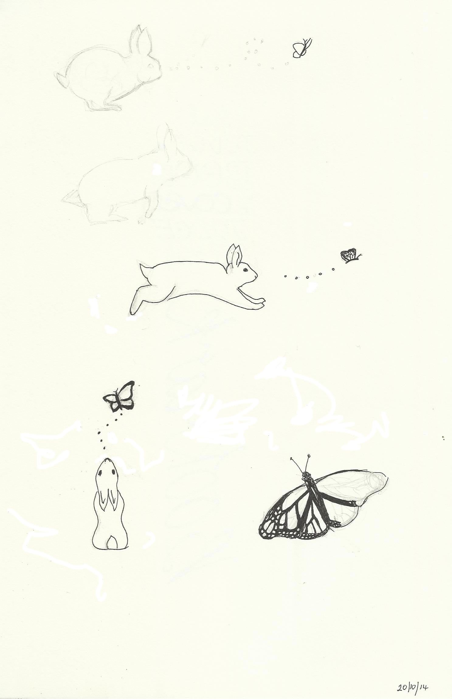 Rabbit chasing butterfly doodles - inspired by friend's idea for their tattoo