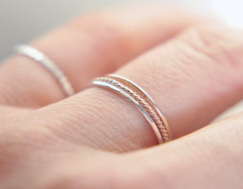 Silk - Sterling silver gossamer ring / delicate stacking ring / minimalist jewelry