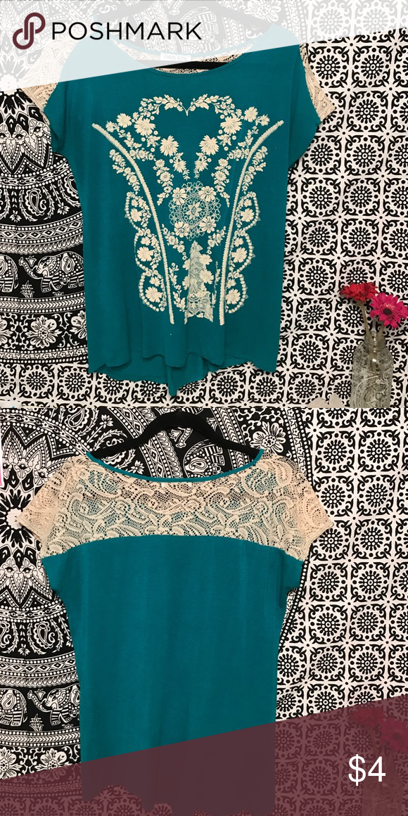 Oversized T Teal oversized T with beige lace and design Tops Tees - Short Sleeve
