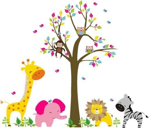 Kids Wall Art Lion Elephant Giraffe Monkey Animal In The Zoo Beside On
