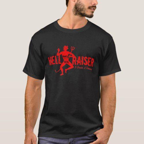 50th Birthday - 5 Decades of Debauchery - Devil T-Shirt | Zazzle.com #blackmouthcurdog
