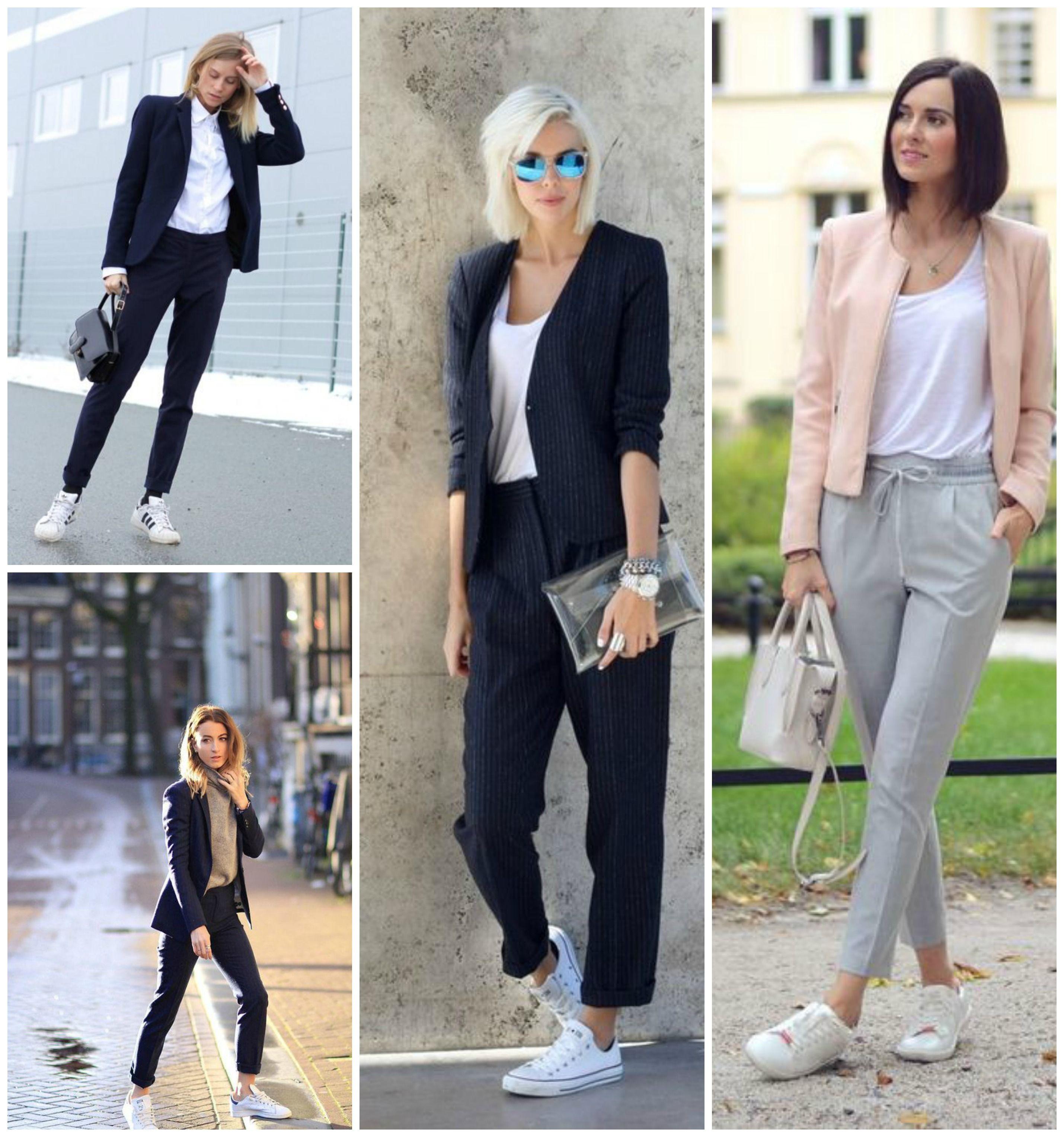 U00a1Lleva tenis a la oficina! u2013 Mundo Rosa | Looks fem con zapas | Pinterest | Ootd Jean outfits ...